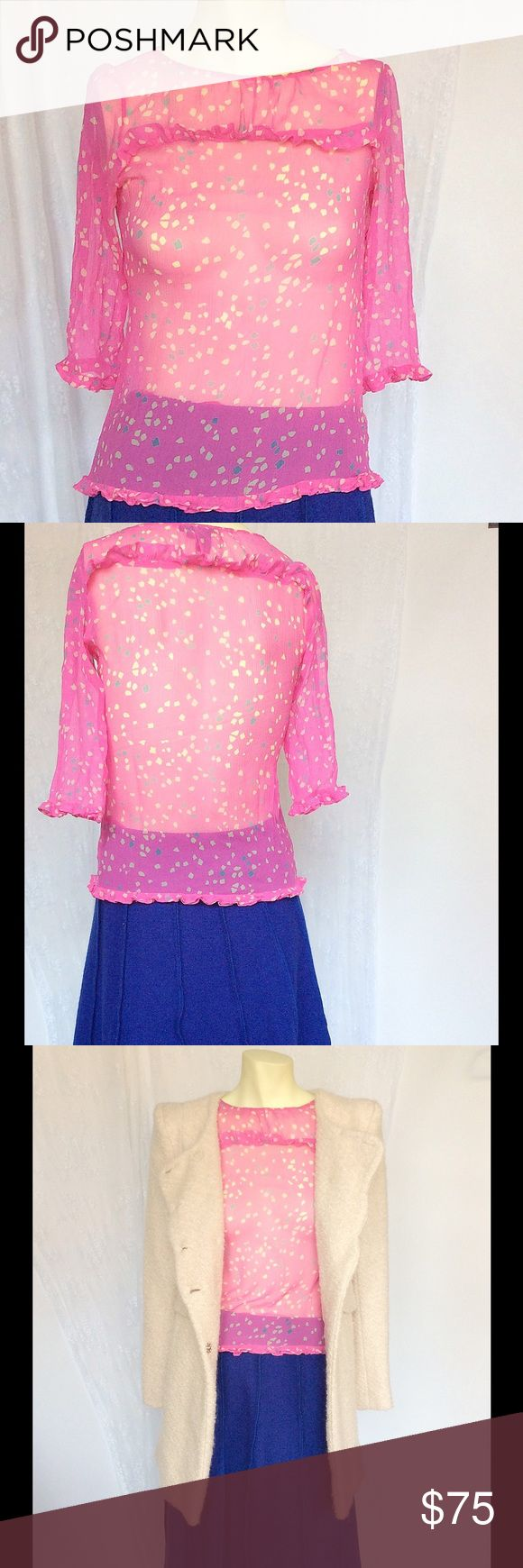 MARC JACOBS HOT PINK POLKA DOTS SILK TOP S Like new, used once. Bundle to save! Marc Jacobs Tops Blouses