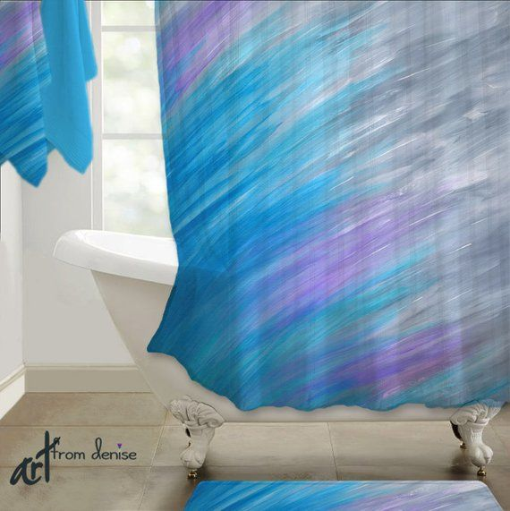 Gray Purple Violet And Turquoise Blue Shower Curtain Etsy Gray Shower Curtains Purple Bathrooms Master Bathroom Decor