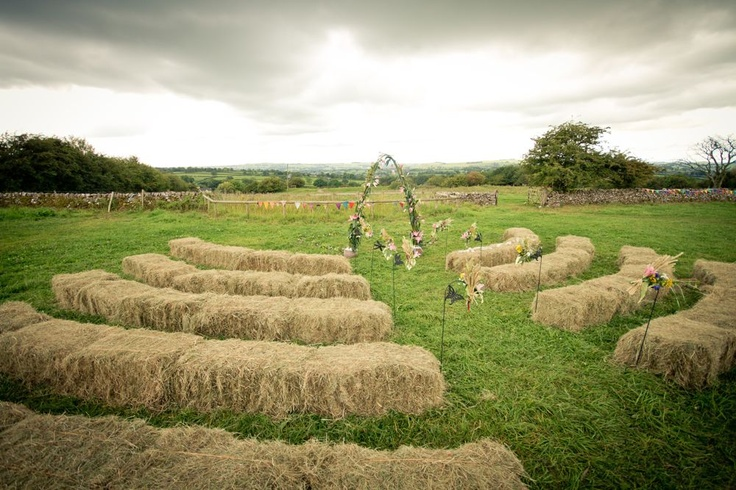 country vintage glastonbury festival wedding -- but itchy, so if we use hay bales, we'll have to cover them