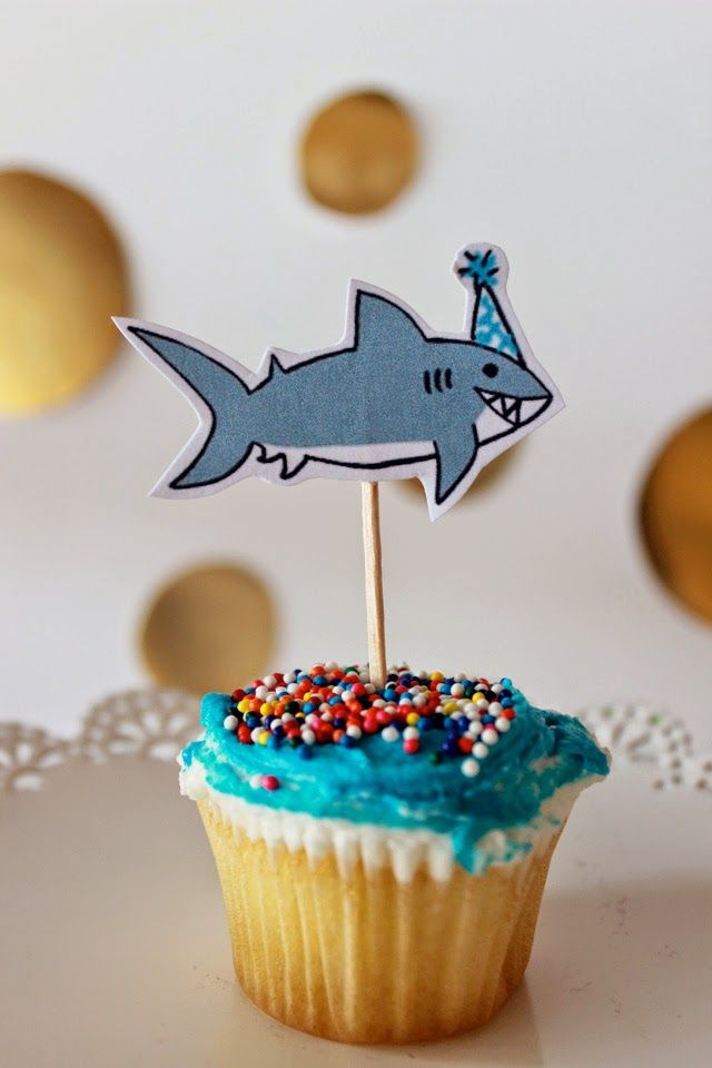 Party shark cupcake toppers