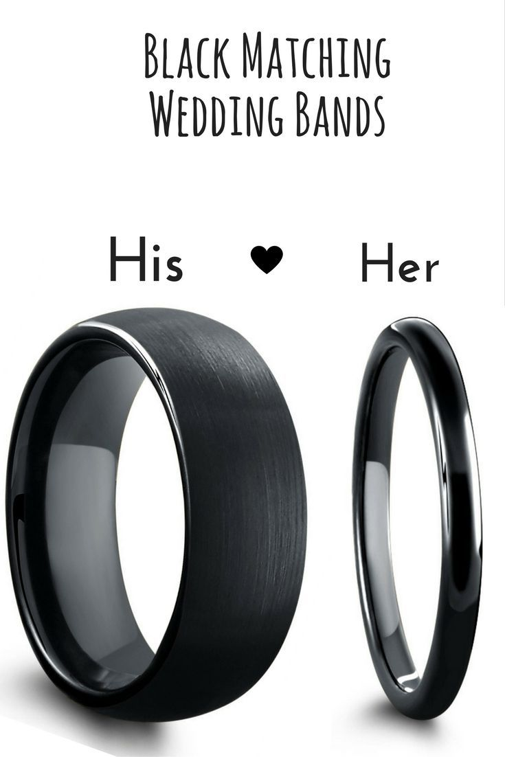 Black matching wedding band set. These black ring are crafted out of tungsten carbide. His ring is 8mm in width featuring a brushed textured top. Her wedding band features a high polish finish and is 2mm in width.