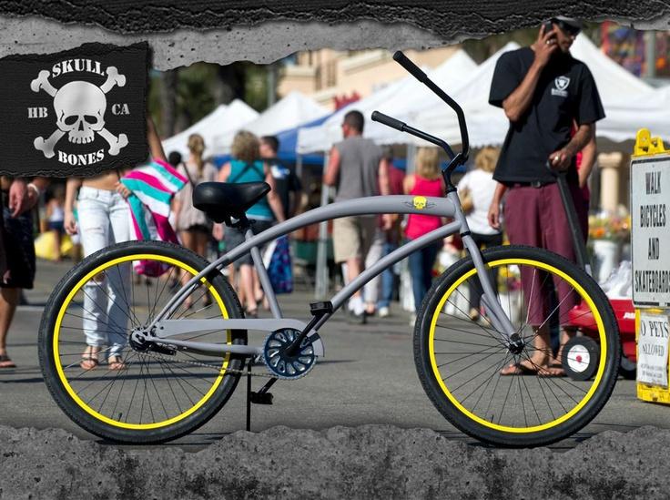 Geoff's new bike.  Huntington Beach Bicycle Company.  Beach Cruiser in Flat Grey and Yellow.