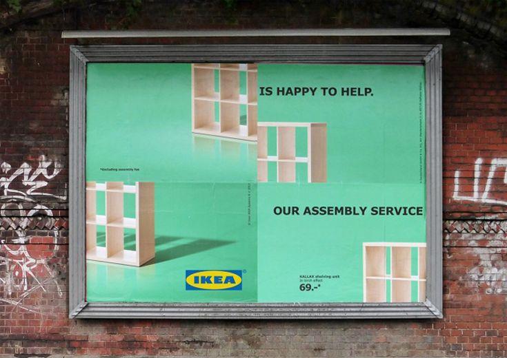 Comment le géant suédois fait-il la promotion de son service de montage de meubles ? Avec simplicité et ingéniosité.  Ikea vend des meubles, mais également des services annexes afin de vous faciliter la vie. Ainsi son service de montage de meubles vient à la rescousse de ceux qui pourraient être effrayés par la perspective de monter soi-même une armoire Ikea. 3 publicités mettent en avant ce service en jouant habillement avec la disposition des différentes parties des affiches. De quoi ...