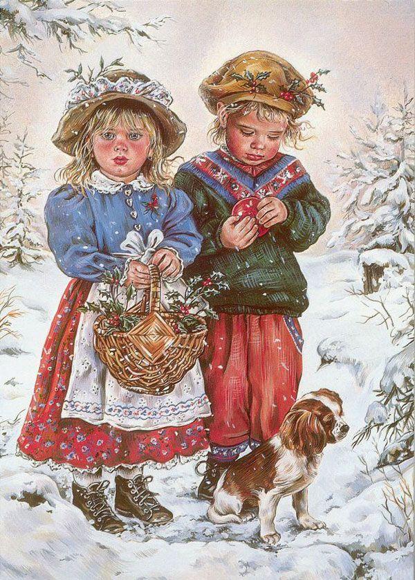 Винтажные открытки дети рождество