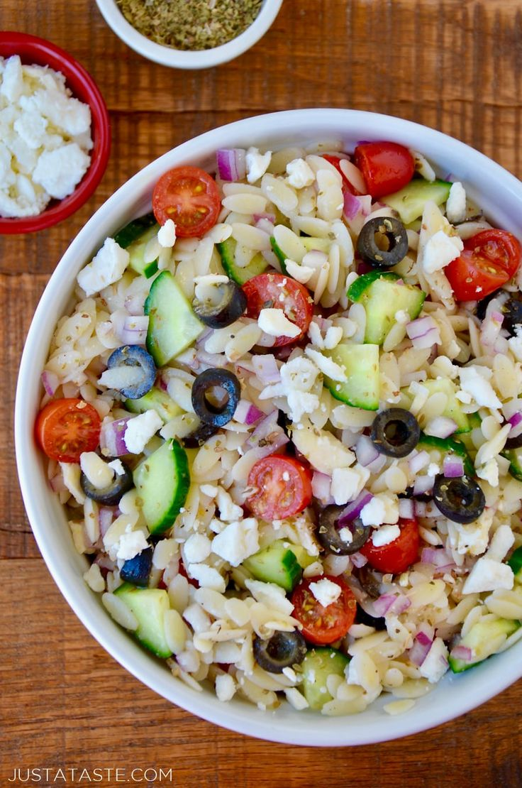 Greek Orzo Salad recipe from justataste.com | Skip the store-bought pasta salads in favor of this quick and easy recipe for Greek Orzo Salad with homemade red wine vinaigrette. @justataste #recipe #summer