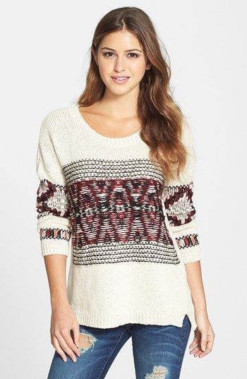 Max & Mia 'Aztec' Pattern Pullover Sweater available at #Nordstrom. Mmmmm snugly!