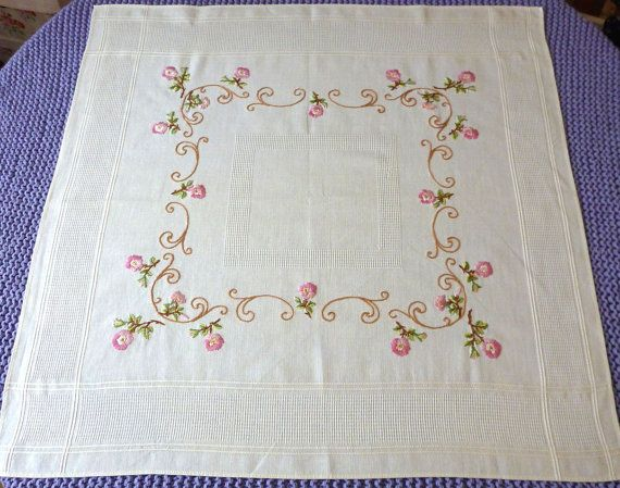 off-white Vintage COTTON square tablecloth roses by Retroom