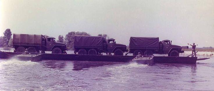 Ural-375Ds crossing river on pontoon bridge