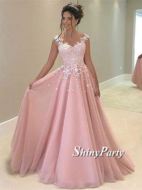 Cute Applique Lace Pink Prom Dresses, Pink Formal Dresses, Pink Evening Dresses