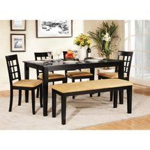 Walmart: Tibalt 6 pc. Rectangle Black Dining Table Set - 60 in. with Window Back Chairs & Bench