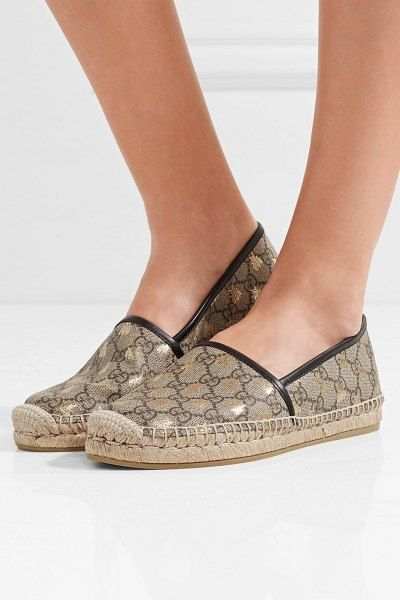 610ae76b509 Gucci Leather-Trimmed Printed Coated-Canvas Espadrilles in 2019 ...