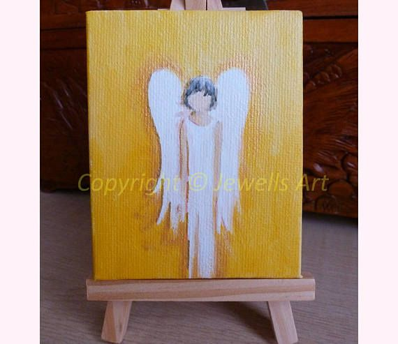 Little Angel Miniature Canvas. Yellow Gold and White Tiny Painting by Julia Underwood and Jewells Art - www.jewellsart.co.uk