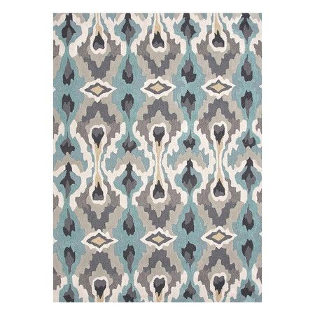 Define an area in your living room or master suite with this hand-tufted rug, showcasing an ikat motif in blue, gray, and black.   Prod...