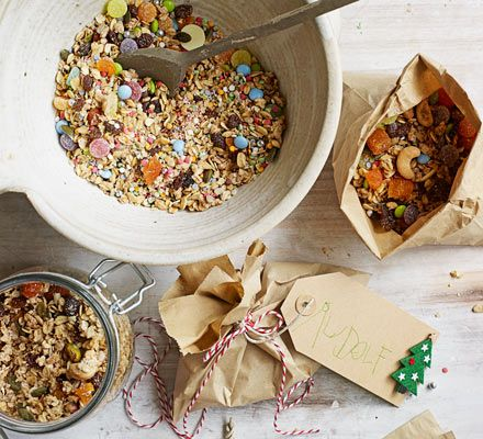 Let the kids create a snack for Rudolf and his hard-working reindeer team. This crunchy granola also makes a delicious breakfast on Christmas morning