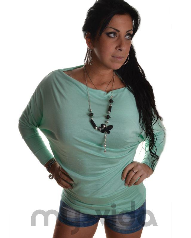 VERDE ACQUA  Maglia donna maniche a pipistrello. Maglietta sexy con spalla scesa, maglietta primaverile abbinabile con jeans skinny o con minigonna