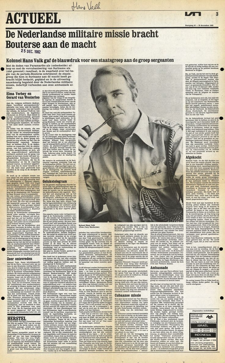 artikel uit Vrij Nederland over kolonel Hans Valk door Elma Verhey en Gerard van Westerloo, klik om artikel te lezen.
