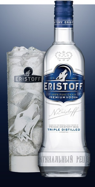 ERISTOFF vodka  (Bacardi Brand) is named after one of Georgia's oldest and most noble families and is inspired by the original recipe first created by the Eristoff family in 1806. The Persians originally named Georgia 'Virshan' meaning the 'Land of the Wolf', as the wild and rugged landscape is the home of the roaming wolf. ERISTOFF vodka is made from a 100% pure grain, triple distilled and charcoal filtered for absolute purity to create a clean, smooth tasting spirit.