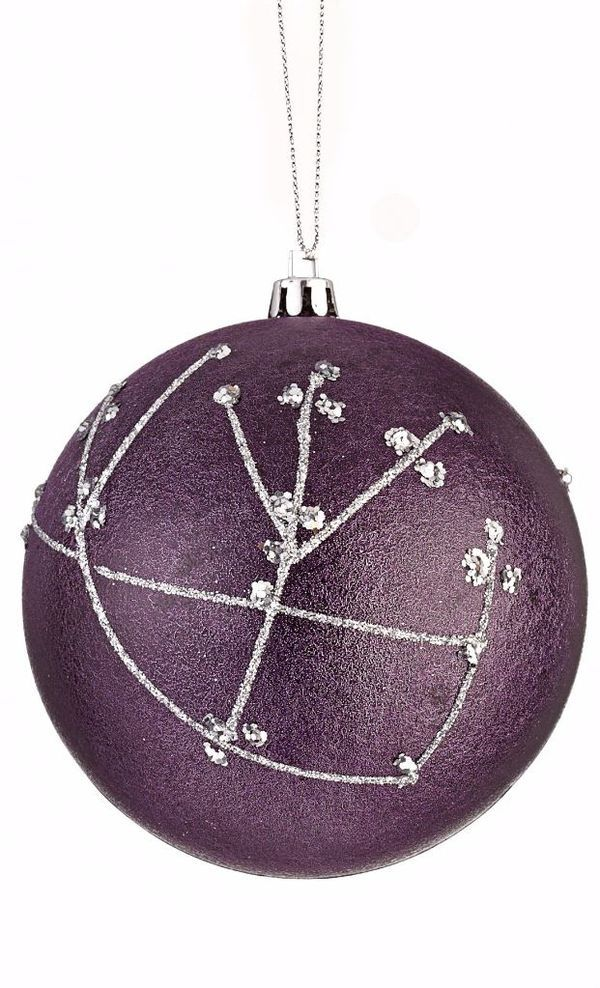 Add a bold touch to your festive décor with the CANVAS Spiced Plum with Silver Pattern Ball Ornament | Canadian Tire Christmas