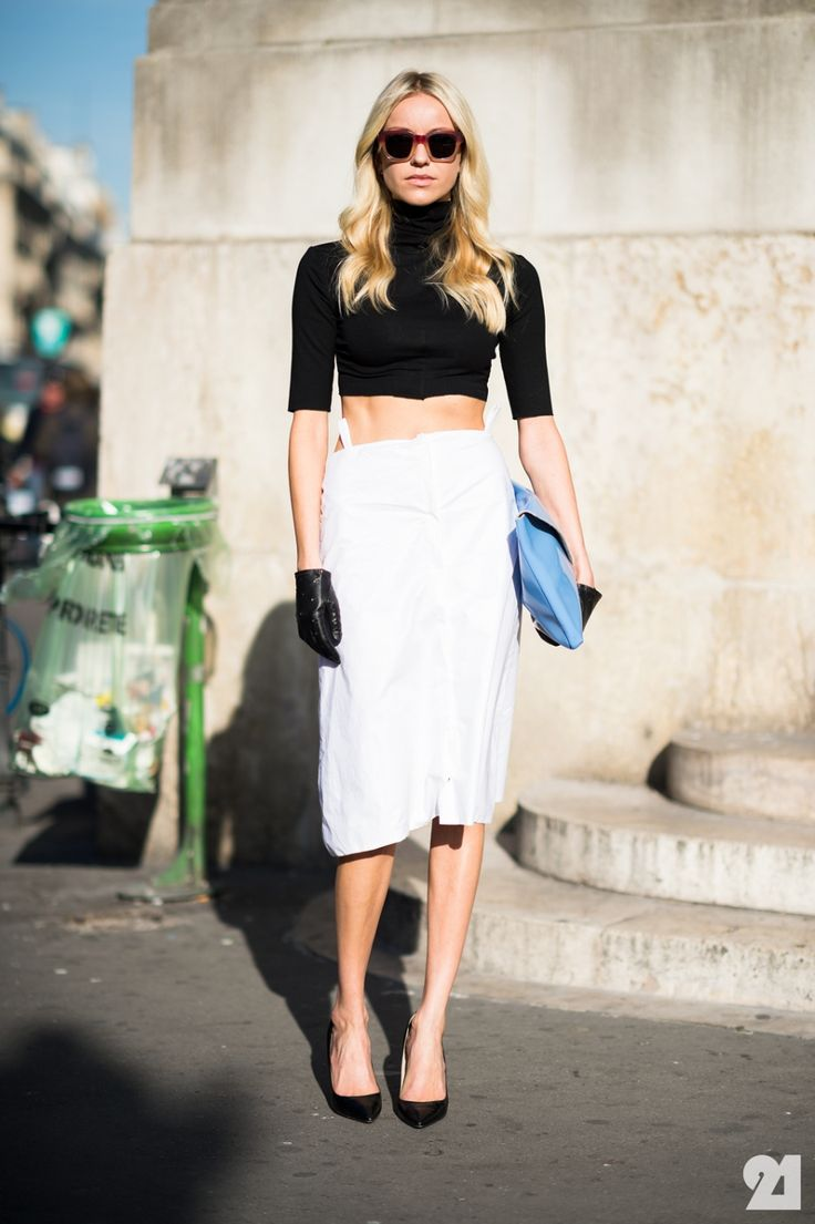 white midi + black mid drift + black pumps + black leather gloves + powder blue clutch