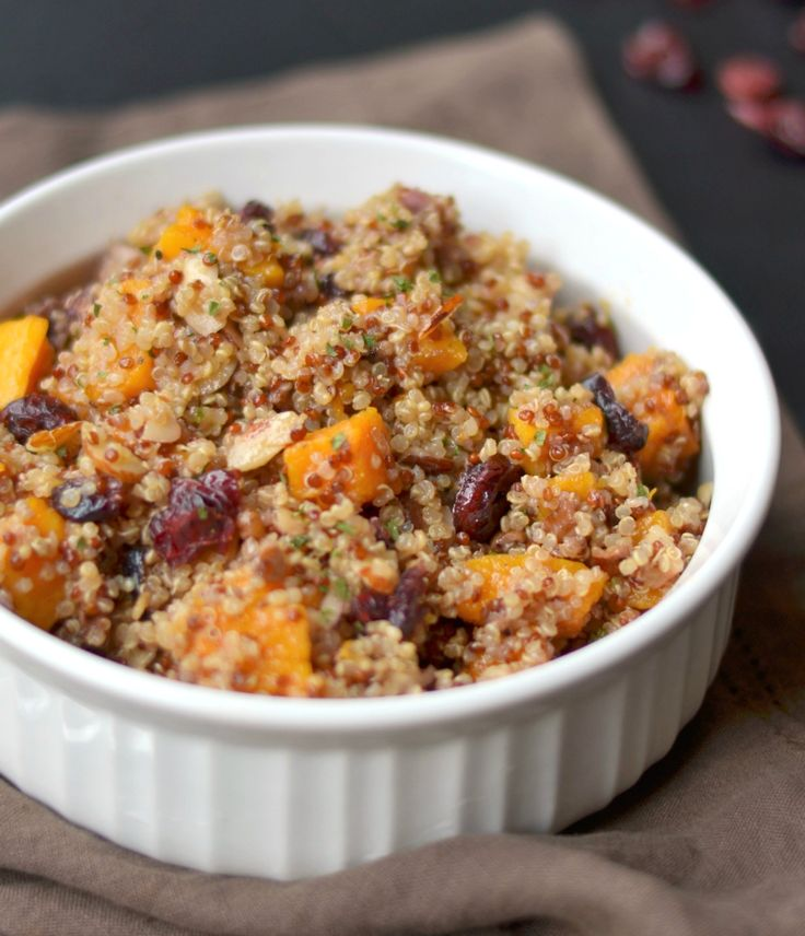 Light, fluffy quinoa is combined with roasted butternut squash, slivered almonds, red onion, dried cherries and tossed in a balsamic vinaigrette with Dijon