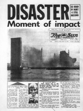 The West Gate Bridge collapse in Melbourne, 15 October 1970, a 120 metre span of the half-built West Gate Bridge collapsed into the Yarra River, killing 35 workers.