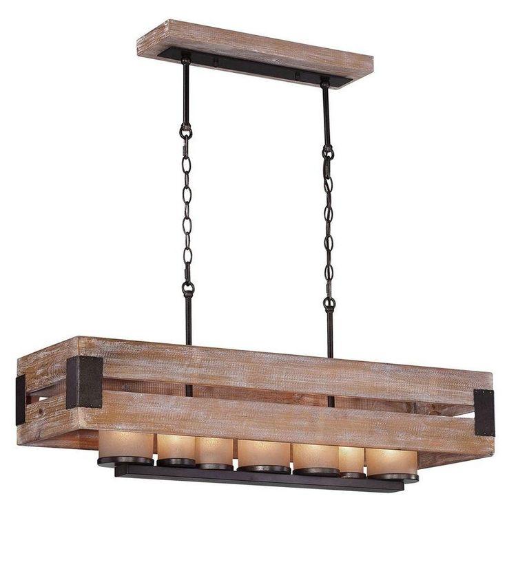 Home Decorators Collection Ackwood 7 Light Wood Rectangular Chandelier