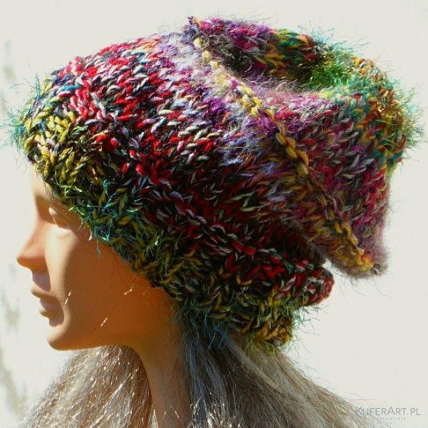 Czapka kolorowy szron, żóła - Czapki, berety - Ubrania