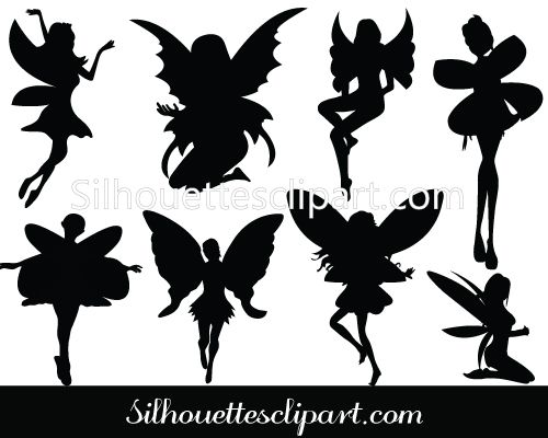 Beautiful fairy silhouette vector for download uploaded with png, jpeg and eps files ideal for tattoos, fantasy vector graphics, halloween day vector arts.