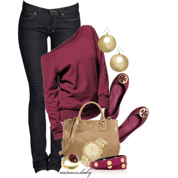 Cranberry, black and Tory Burch Flats :)