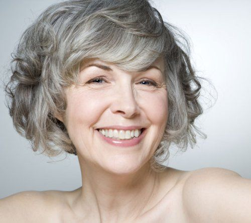 curly silver bob for older women