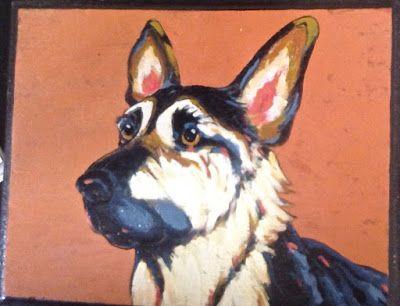 "German Shepherd pyro/acrylic Painting (5"" x 7"")"