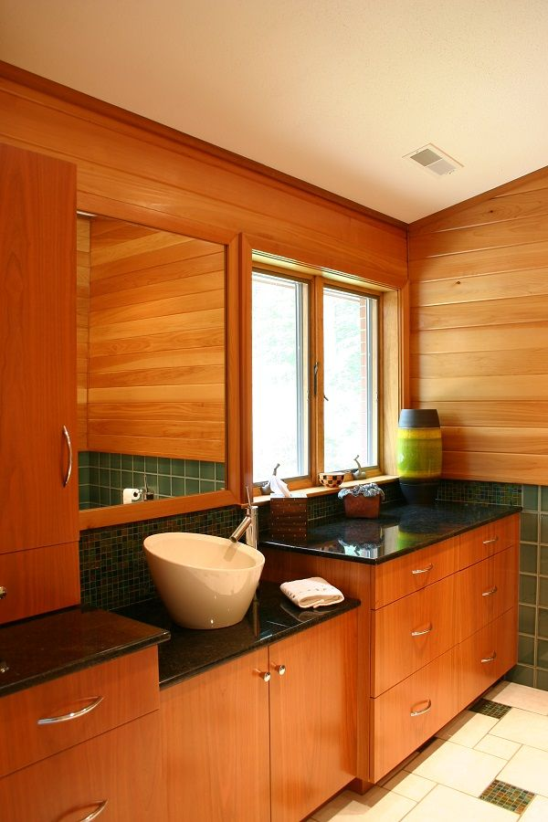 Cherry Wood Bathroom   Three Drawers For Great Storage, Vessel Bowl Sink,  Wall Cabinet