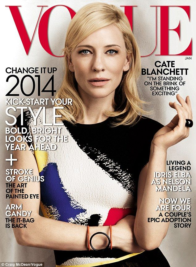 On newsstands Dec. 24! Cate Blanchett resembled a Mondrian work of art in head-to-toe Céline Spring 2014 for her 5th Vogue cover