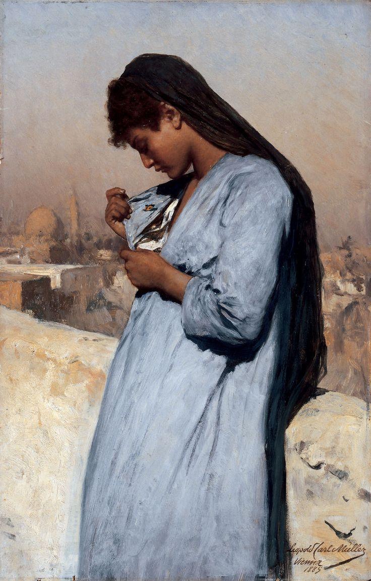 Leopold Carl Müller (Austrian, 1834-1892). Egyptian girl ...