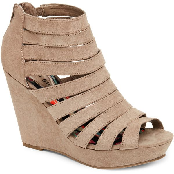 Madden Girl Taupe Kiickit Caged Open Toe Platform Wedge Sandals (£30) ❤ liked on Polyvore featuring shoes, sandals, heels, wedges, beige, suede sandals, platform sandals, taupe sandals, platform wedge sandals and wedges shoes