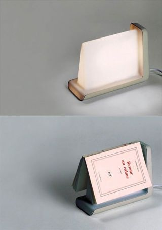 This table lamp is designed for reading. It is lit automatically when you are reading, and when covered by the book it will dim.
