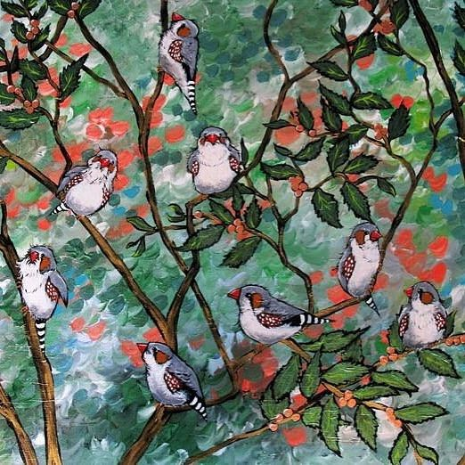 Day 90: Bluethumb artist Sally Ford @artbysassy painted this cheeky gathering of Australian Zebra finches. She loves the birds lively humour and flock mentality #100DaysOfArtists #artuncovered #art #contemporaryart #Australia http://ift.tt/1TN6MFr