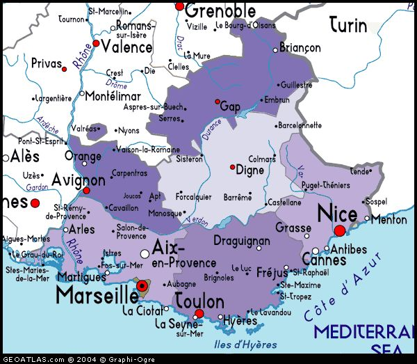 Map of Provence and the Cote d' Azur