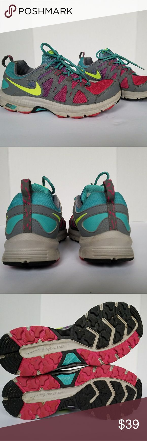 Nike Air Trail Sneakers Pink Purple Blue 8 GUC Very cool trail runners sneakers. Good condition, soles are in excellent condition. Some minimal blemishes pictured in last 4 pictures. Smoke and pet free. Nike Shoes Athletic Shoes