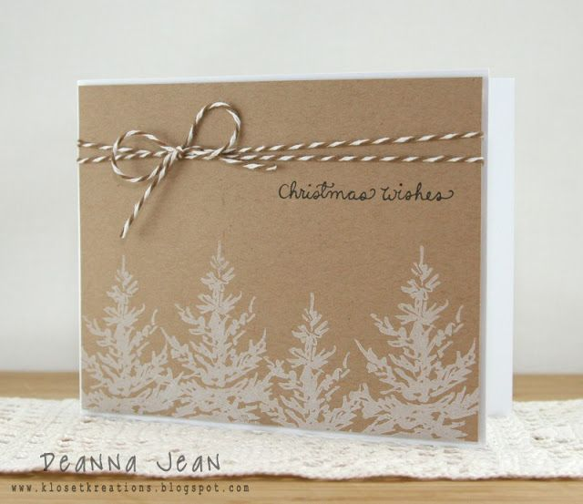 handmade card on kraft ... luv the look of white stamping ...