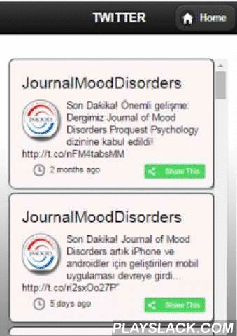 JMOOD  Android App - playslack.com , JMOOD is the free mobile application of Journal of Mood Disorders which is a scientific journal about mood disorders. Journal of Mood Disorders (JMOOD) is a publication of Turkish Association for Psychopharmacology Mood Disorders Section. It has been published as a peer reviewed, quarterly, open-access, scientific journal on mood disorders since 2011. JMOOD includes articles about bipolar, unipolar and anxiety disorders addressing subjects such as…