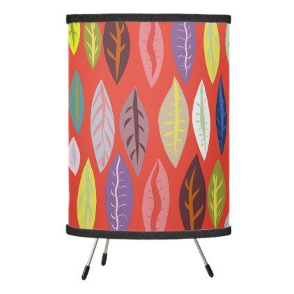 Trendy Modern Leaf Pattern Tripod Lamp - pattern sample design template diy cyo customize