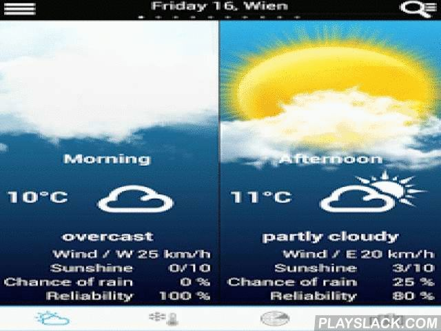 "Weather For Austria  Android App - playslack.com ,  A quick and easy way to get the weather forecast for your region updated in real time by meteorologists!- Weather forecast for the morning / afternoon / evening 7 night - Rainfall radar- New, cleaner ""details view""- Select any City in Austria and in the World- Value of forecast reliability - Probability of sunshine and precipitations- Perceived temperature - Average, mimimum and maximum temparature- Wind force, wind direction, gust force…"
