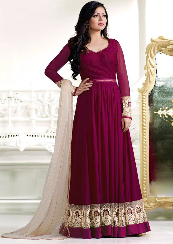Drashti Dhami Grape Floor Length #Anarkali Suit