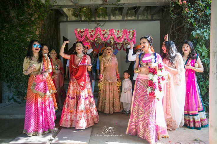 Sister of the Bride - Ritchie & Deeya | WedMeGood | Bride and Bridesmaids in Pink Toned Lehengas #wedmegood #indianbride #indianwedding #lehenga #bridal #bridallehenga