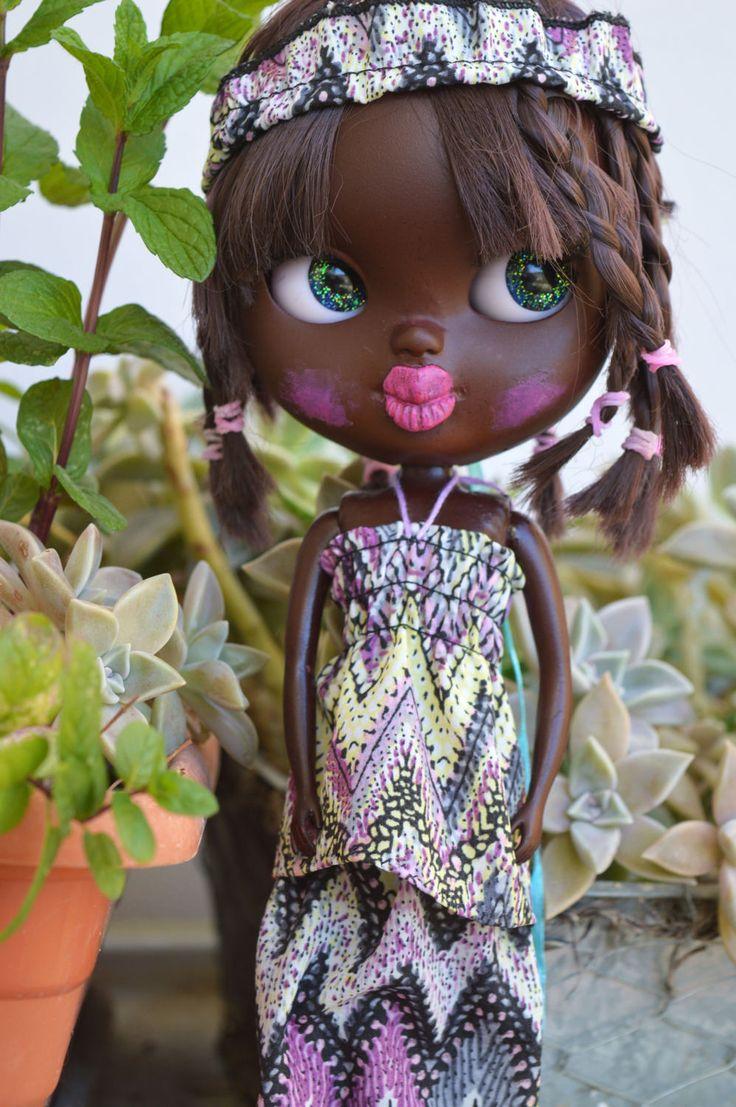 Banda de camisa, falda y pelo africano para blythe pullip o muñeca similar