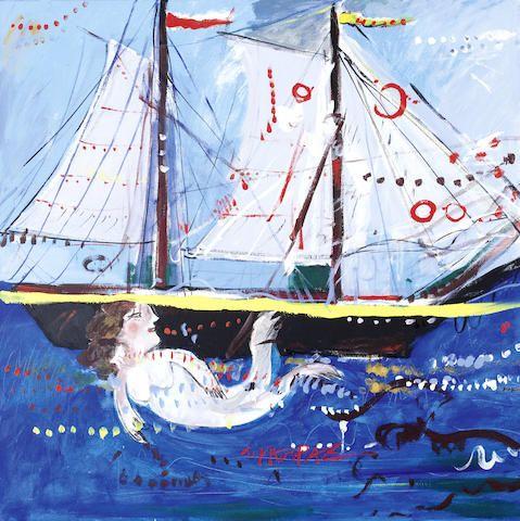 Dimitris Mytaras (Greek, born 1934) Boat and mermaid 100 x 100 cm / oil on canvas