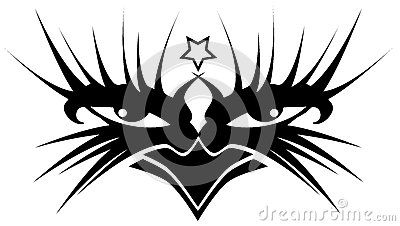 Eyes decorated with abstract decoration and a satanic star, usable as tattoo, but also to decorated shirt.