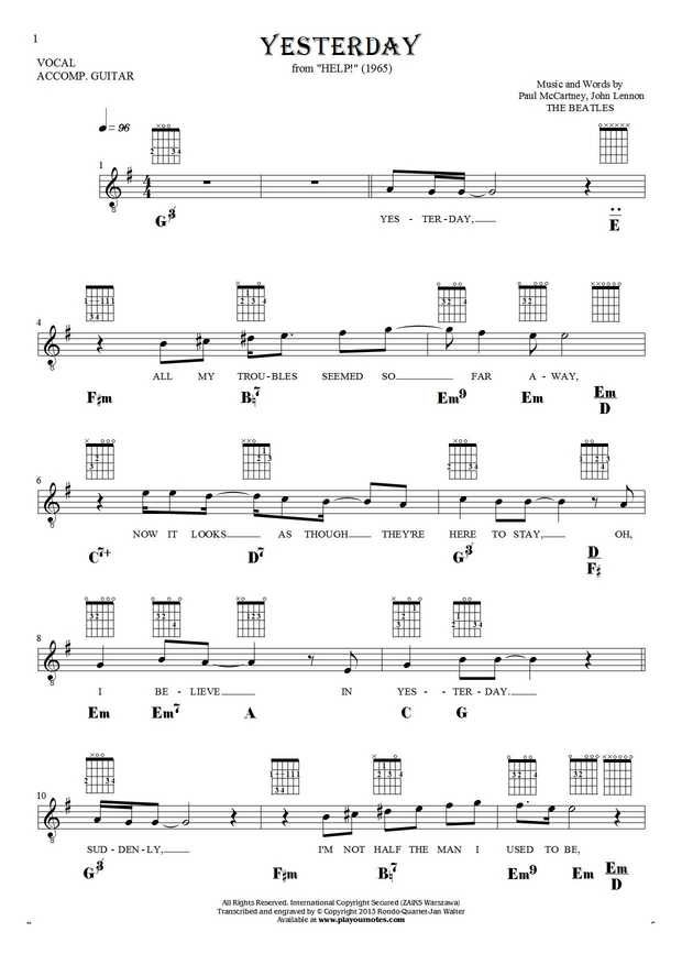 Yesterday - Paul McCartney. From album Help! (1965). Part: Notes, lyrics, chords and diagrams for guitar and vocal
