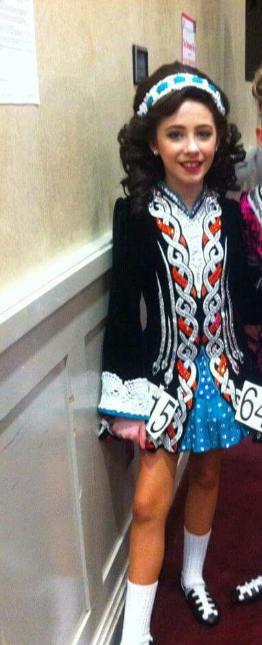 Impressive Black Gavin Doherty Irish Dance Dress Solo Costume For Sale
